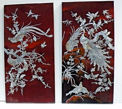"""rtrm1 PAIR CHINESE LACQUER & MOTHER OF PEARL LARGE PANELS 31 x 15 3/4"""", BIRDS"""