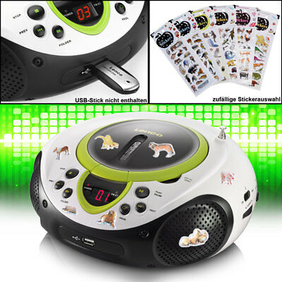 Tragbarer CD-Player MP3 USB Radio AUX USB grün Sticker Tiermotive Kinderradio