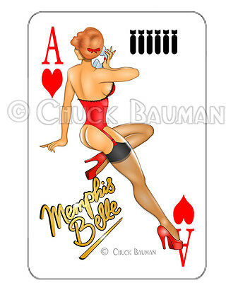 Bomber Girl 7th HEAVEN WW2 pin-up playing card decal pin-up babe sticker