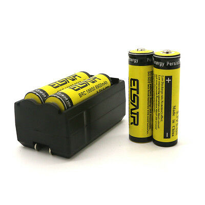 4pc 18650 3.7V 9900mAh Rechargeable Li-ion Battery Batteries + Charger USA Stock