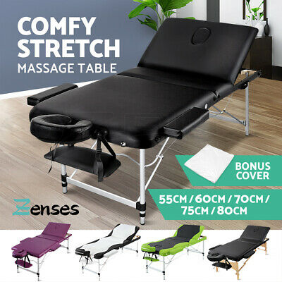 Zenses Portable Aluminium Wooden Massage Table 3 Fold Bed Therapy 60/70/75/80