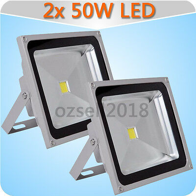 2x 50W Floodlight Cool White IP65 LED Flood Wash Light Outdoor Lamp 220V