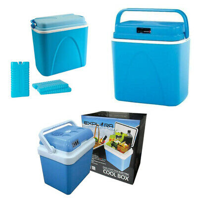 Large 24L 24 Litre Coolbox Cooler Camping Beach Picnic Food Ice Packs Cool Box