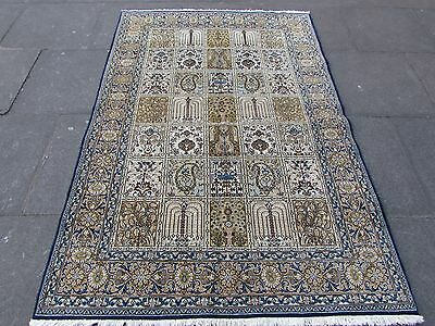 Fine OLD Traditional Hand Made PERSIAN Rug Wool Silk Cream Gold Rug 206x140cm