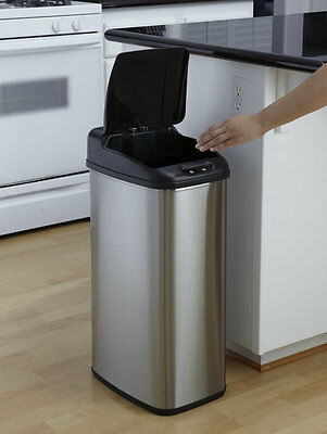 New 60L Tall Slimline Stainless Steel Kitchen Sensor Waste Rubbish Dust Auto Bin