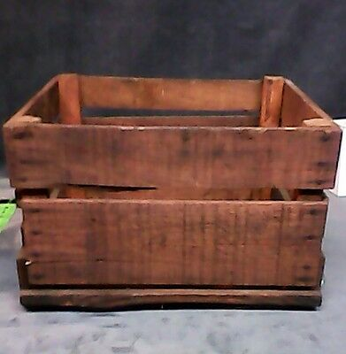 (1)Vintage Stained Rustic Wood Crate great for crafts decorating storage