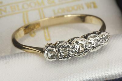 AN ANTIQUE SOLID 18ct GOLD & PLATINUM DIAMOND 5 STONE RING SIZE O (US 7.25)