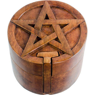 Round PENTACLE Wooden Puzzle Box!