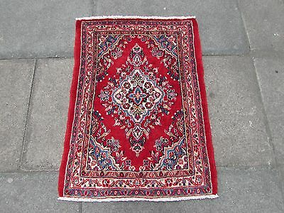 Old Traditional Persian Rug Oriental Hand Made Wool Red Pink Small Rug 95x70cm