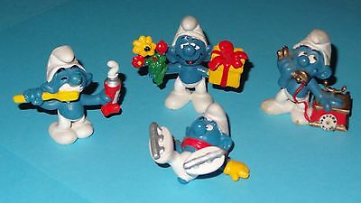 Lot of 4 Smurf Figurines Rare Vintage Display Smurfs Telephone Toothpaste & More
