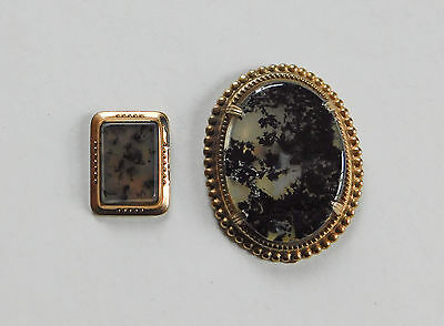 Victorian Gold Filled Moss Agate Mount Stone Jewelry Parts Re Purpose #299