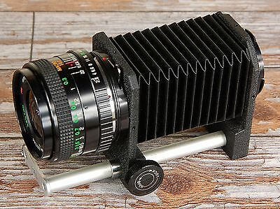 Minolta MD fit Macro Bellows + Prime 28mm Lens for close ups insects coins