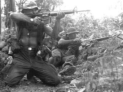Vietnam Firefight!!  Photo from Vietnam War M-16 US Army USMC Southeast Asia