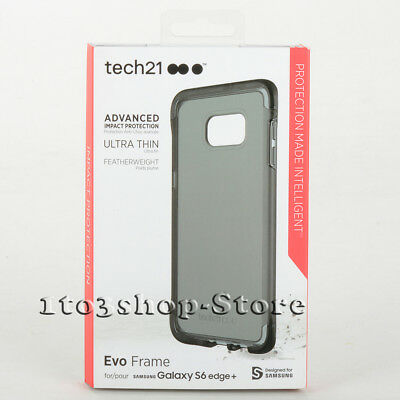Tech21 Evo Frame Case For Samsung Galaxy S6 Edge+ Plus (Smoke Black/Clear) NEW