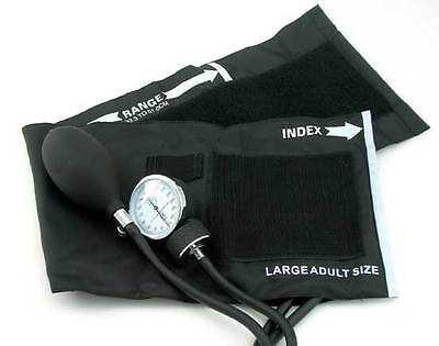 New Large Adult Blood Pressure Bp Cuff Set W/ Case Black