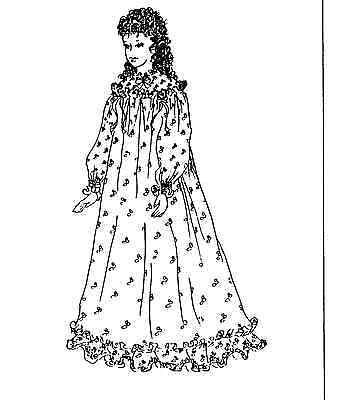 "S)12-14(M)16-18(L)20-22""antique-Modern French Fashion Doll Nightgown Pattern"