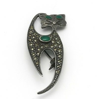 """Vintage Art Deco Sterling Silver Marcasite & Chrysoprase Cat Pin 1-5/8"""" x 5/8"""""""