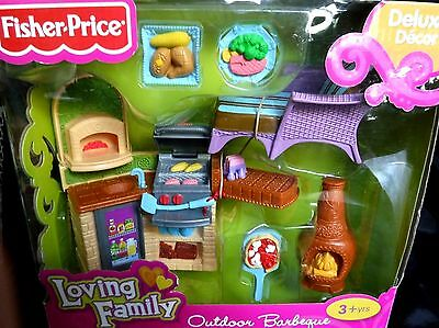 Fisher Price Loving Family Outdoor Barbeque Nib #v3402 Deluxe Decor & Accs,