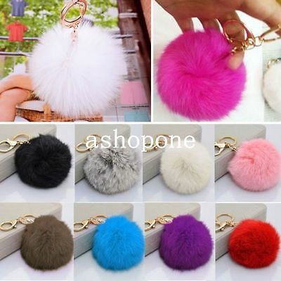 Soft Cute Rabbit Fur Ball PomPom Cell Phone Pendant Handbag Key Chain Ring #5