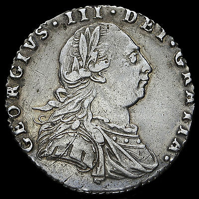 1787 George III Early Milled Silver Sixpence, Hearts, GVF