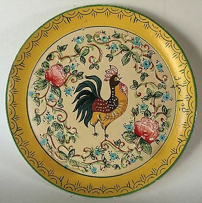 Vintage ISCO Yellow Paper Mache ROOSTER & ROSES Plate HP Alcohol Proof 9""