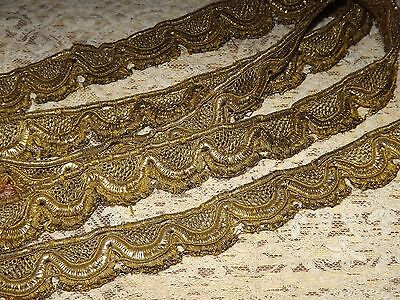 2.2 yds Antique Vintage Gold Metallic Scalloped Lace Passementerie Trim 1 1/4""