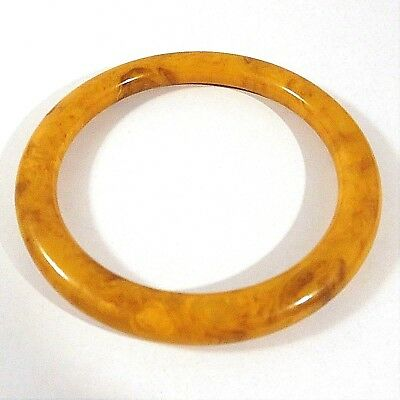 Vintage Butterscotch Amber With Brown Marble Genuine Bakelite Bangle Bracelet