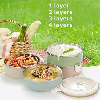 1/2/3/4 Layer Stainless Steel Thermal Insulated Lunch Box Bento Food Container