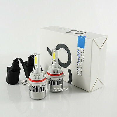 2X 9004 COB 72W C6 LED Headlight Bulb Kit high/low Beam High Power 8000lm 6500K