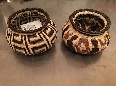 2- Panama  Embara Wounaan woven geometric pattern Basket