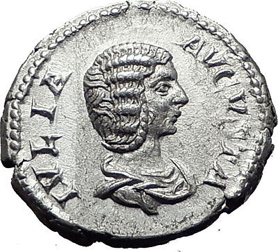 JULIA DOMNA 207AD Rome Authentic Ancient Silver Roman Coin FORTUNA Rare i61503