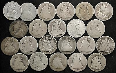22 Different Seated Liberty Halves.  See below for Dates.  Circulated.  110432