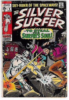 SILVER SURFER #9 (VG-) Mephisto Appearance! Silver-Age Marvel Comic 1969