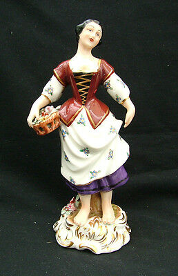 Dresden china figurine of flower girl blue crossed swords Marth Budich