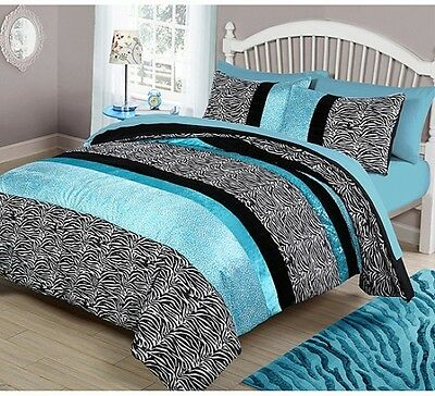 your zone Teal Animal Bedding Comforter set Full/Queen blue/black