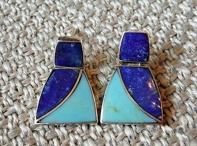 Sterling Silver Pierced Earrings W. Lapis Turquoise--Made In Chile--Hinged 925