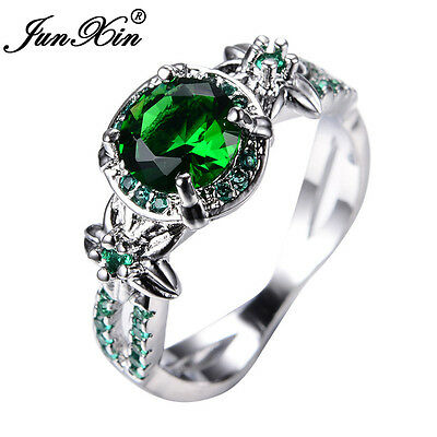 JUNXIN Round Cut Green Emerald Flower Wedding Ring White Gold For Women Size5-11