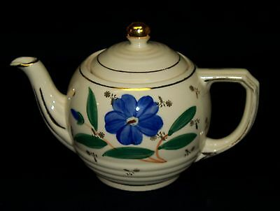 Vintage Shawnee U.S.A. Blue Flower Gold Trim Tea Pot