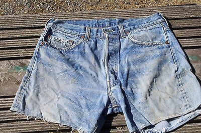 True Vintage Levis 501 Red Line Denim Shorts W 33