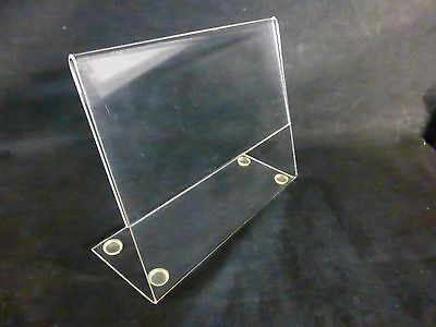 USED Clear Slanted Acrylic 7 x 5.5 Sign Flyer Menu Holder Display w/Feet