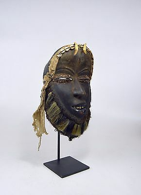 Old Dan Guere African mask on professional display stand.