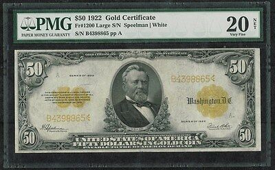 FR-1200 $50 PMG 20 Gold Certificate Large Note SPEELMAN/WHITE