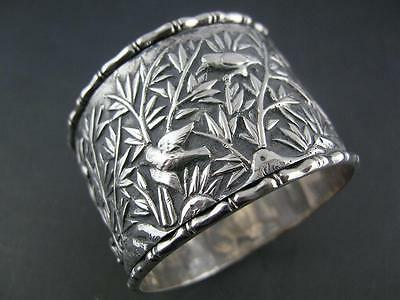 Old Chinese Export Silver NAPKIN RING w/ foliage birds & bamboo
