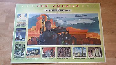 Vintage 1942 Coca Cola Our America Poster Oil Is Making A New World