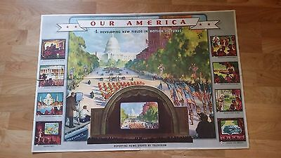 Vintage 1942 Coca Cola Our America Poster - New Fields In Motion Pictures