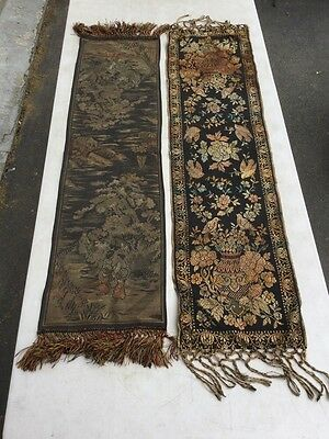 2 Antique Tapestry Embroidery Hand Made 1890 Art Nouveau Oriental Chinese Silk