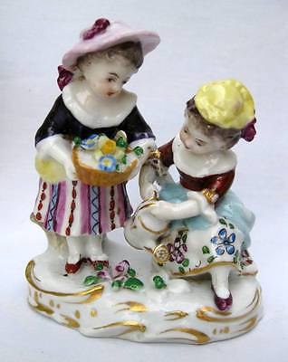 German Porcelain Figurine Gold Anchor Mark  Two Little Girls Watering Flowers