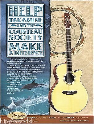 Takamine LTD 2001 Cousteau Society Acoustic Guitar ad 8 x 11 advertisement
