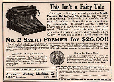 Ad Lot Of 12 Early  Smith  Premier Typewriter Ads Nos 2 5 10 Phoenicians Brown