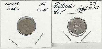 2 OLDER 25 PENNIA COINS from FINLAND DATING 1925 & 1934